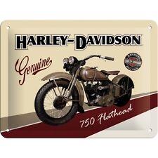 Harley Davidson 750 Flathead Motorcycle Motorbike Small 3D Metal Embossed Sign