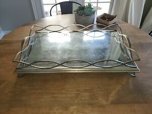Jonathan Charles Luxe Collection Eglomise & Silver Iron Rectangular Tray JC mdrn