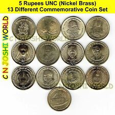 Very Rare 13 Different Nickel Brass Rs 5 Commemorative Five Rupees UNC Coins Set