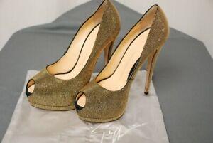 NEW GIUSEPPE ZANOTTI gold studded platform peep toe heels shoes EU 40 US 9.5 10