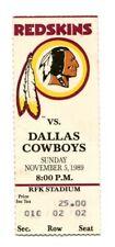 1989 Dallas Cowboys @ Washington Redskins 11/5/1989 Ticket