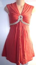 NWT Sky Brand Salmon Coral Embellished Keyhole Dress XS NEW