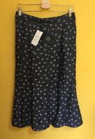 M&S CLASSIC Denim Look A-Line Skirt ~Size 12~Spotted Polkadot Linen Mix Summer