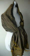 Olive Green Satin Stole Wrap Long Feather Sequin Bead Trim + Matching Small Bag