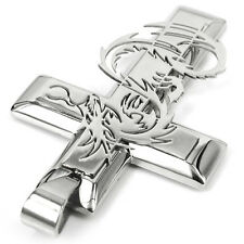 Men's Cool Silver Stainless Steel Dragon Cross Pendant Necklace Free Chain Gift