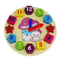 Horloge En Bois De Blocs Enfantspuzzle Jouets Bébé Coloré Animaux Jouetéduca FE
