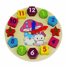 Kids Wooden Clock Puzzle Toys Animal Colorful Baby Educational Toys *Yh