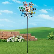 4 Ft Colorful Confetti Wind Spinner Garden Stake w/ Solar Lighted Gazing Ball