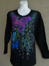 Just  My Size 2X  L/S V Neck Black Glitzy Graphic Tee Shirt Large Butterfly