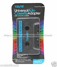 TZUMI Universal AUTO CASSETTE ADAPTER w/3.5 mm Cable PORTABLE For Car Decks NEW