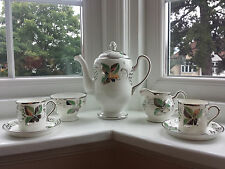 Grays Lustre ware Silver & Green Vine Leaf Coffee Set for Two A7513