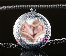 Baby Feet in Hands Cabochon Glass Tibet Silver Locket Pendant Necklace