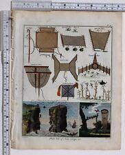 1779 Antico britannico sportivo stampa Bird RETI & TRAPPOLE CATTURA Stalking Horse