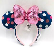 Minnie Ears 2019 Rock Polka Dot Blue Rare Gift Sequins Disney Parks Bow Headband