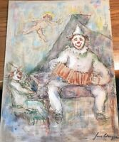 John Wenger 1970 musical Clown acrylic On Broad painting  Russian artist