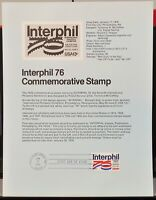 USPS 1976 First Day Issue Souvenir Page, Interphil 76 Commemorative