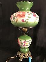"LG VTG GIM 3083 1967 VICTORIAN HURRICANE TABLE LAMP GREEN W FLOWERS 3 WAY 26"""