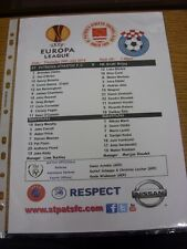26/07/2012 Colour Teamsheet: St Patricks Athletic v NK Siroki Brijeg [Europa Lea