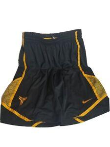 Kobe Bryant Nike Dri Fit Basketball Shorts Black Mamba Large Yellow LA Lakers
