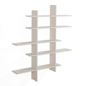 5 Level Asymmetric Floating Shelf Storage Organizer Sturdy Laminated MDF White