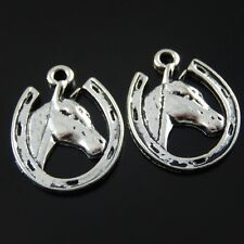 5PCS Antique Silver Alloy Horse Head Circle Crafts Charms Pendant 21*17*2mm