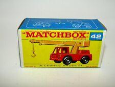 "Matchbox Regular Wheels No 42 Iron Fairy Crane ""F2"" Type Empty Box Near Mint"
