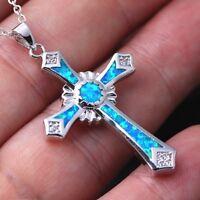Crystal Blue Opal Kreuz Anhänger Halskette Charme Frauen Trendy Schmuck