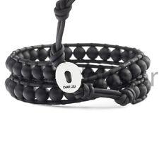 CHAN LUU MENS 2X WRAP BLACK LEATHER BRACELET Genuine Onyx Gemstone Wristband