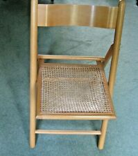 Vintage Folding Wooden Chair with Woven Wicker Seat