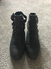 New Look Buckle High Ankle Boots Size 6