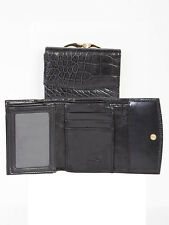 Scully 715 Black Alligator Grain Leather French Purse Wallet