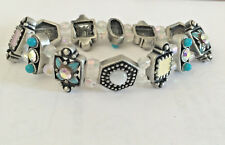 New Vintage Floral Style Topaz Pink Crystals Bead Kids Elastic Bracelet BRA1282A
