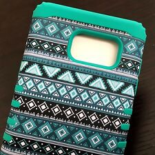 For Samsung Galaxy Note 5 - HYBRID HIGH IMPACT CASE TURQUOISE GREEN AZTEC TRIBAL