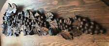 "Antique Carved Black Forest ""Grapes & Leaves"" Long 29"" Wall Plaque Graduated Vtg"