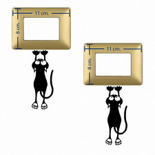gatto appeso adesivi murali wall sticker decal light switch cats black 2 pz.
