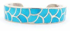 Zuni Handmade Sterling Silver Turquoise Inlay Bracelet- Carmichael Haloo