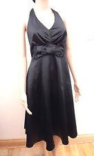 New Red Herring Maternity Black Satin Halterneck Bow Front Dress Sz UK 8