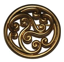 LADIES GOLD PLATED CELTIC COILS CIRCULAR BROOCH / SCARF PIN (8321)