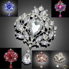 Wunderschöne große Brosche Braut Strass Kristall im Vintage verschiedene Farben