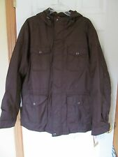 NWT Men's Docker's 100% Nylon hooded 6 pocket fleece lined Brown Size L $160