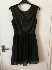 Women Size 6 Black Formal Lined Sequined Dress Sleeveless Atmosphere EU 34
