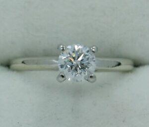 14K White Gold & Platinum ~ 0.71 Ct. *DIAMOND* Solitaire Engagement Ring ~ SI2/F