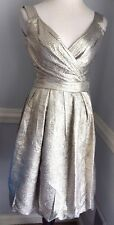 Oscar de la Renta Silver Lame A Line Tulip Hem Wedding Cocktail Dress IT 38 US 2