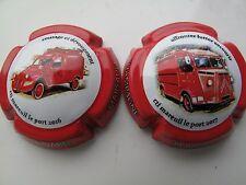Série de  2 Nouv. capsules de Champagne  ROBINARD-MARSAULT, véhicules pompier