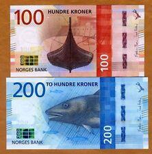 SET Norway, 100;200 Kroner, 2016 (2017), P-New, UNC > Redesigned