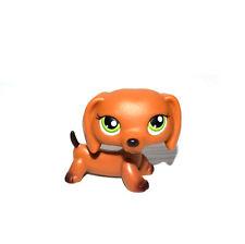 Littlest Pet Shop Puppy Green Eyes Brown Dachshund Chocolate Tail Dog Figure Toy