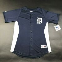NWT Majestic Detroit Tigers Boys Youth L Blue White Jersey Shirt Polyester