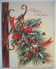 Hanging Pine cone and ribbon Vintage Christmas greeting card G*