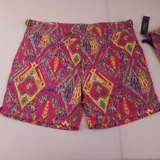 NWT Polo Ralph Lauren Mens Pink Yellow Green Pattern Swim Trunks Size 36 w/ bag