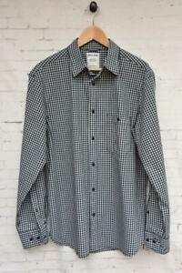 DRIZABONE Size L Mens Navy Checked Cotton Shirt Button Front Long Sleeve